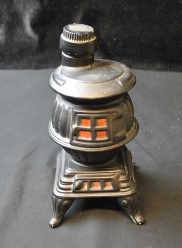 1968 EZRA BROOKS Black Potbelly Stove Collectible Decanter