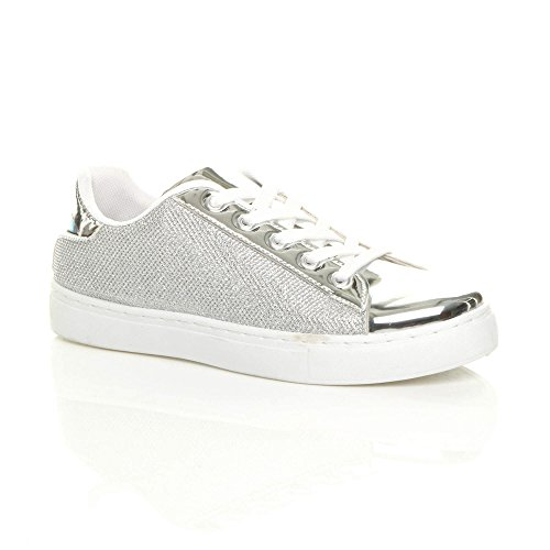Ajvani Womens Ladies Flat Lace up Glitter Contrast Trainers Sneakers Plimsolls Size Silver ca204tUP