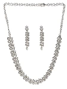 Zaveri Pearls Twinkling Leaf Twigs Austrain Diamnond Necklace SetÃ'for Women-ZPFK460