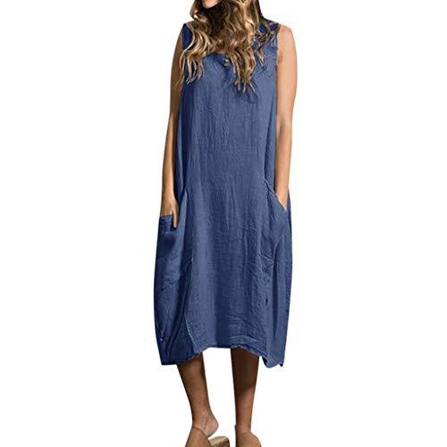 Women Summer Skirt Style Feminino Vestido Cotton Casual Plus Size Ladies Dress Blue