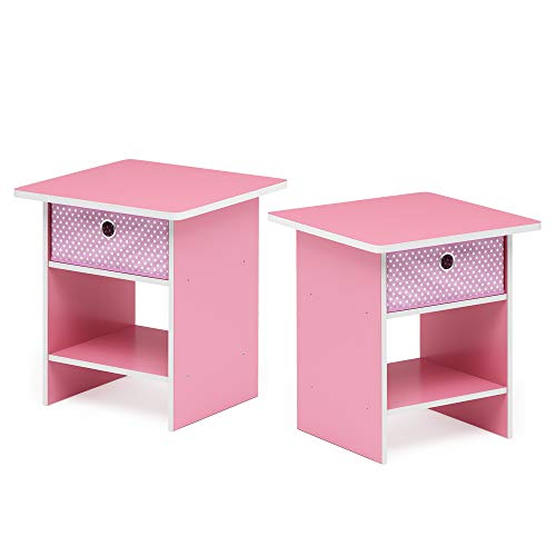 Furinno 2-10004PI Bin Drawer Storage 2-Pack End Table Nightstand Light Pink