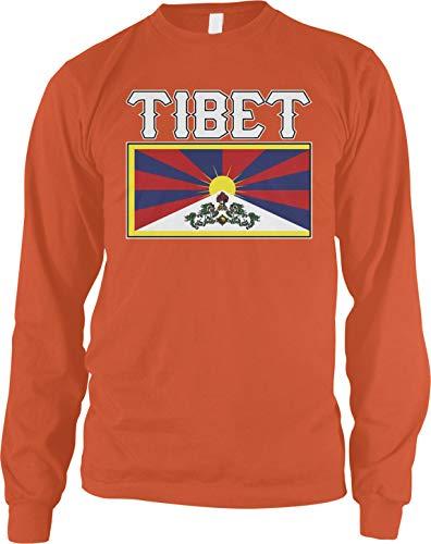Amdesco Men's Flag of Tibet, Tibetan Flag, Snow Lion Flag Long Sleeve Shirt, Orange ()