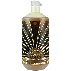 Alaffia - EveryDay Coconut - Hydrating Shampoo, Purely Coconut, 32 Ounces 25 100% FAIR TRADE: Feel good about how you are getting your products with 100% Certified Fair Trade Ingredients. LUXURIOUS CREAMY LATHER: This Certified Fair Trade virgin coconut oil shampoo gently washes away impurities without stripping hairs natural oils. FULL OF BENEFICIAL INGREDIENTS: African ginger mildly stimulates scalp circulation while coconut water nourishes hair with vitamins, minerals and essential amino acids.
