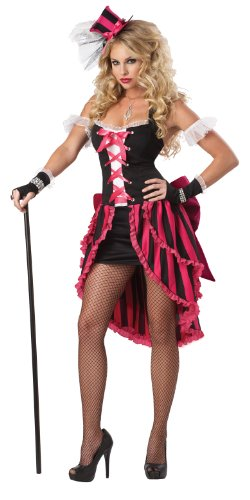 Saloon Girl Costume Party City (California Costumes Parisian Showgirl Set, Pink/Black, Small)