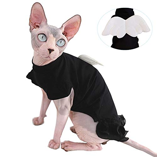 Sphynx Hairless Cat Cute Breathable Summer Cotton Dress Skirt Shirts Pet Clothes,Round Collar Kitten T-Shirts with Sleeves, Cats & Small Dogs Apparel (XL (7.7-9.9 lbs), Wing Dress) (Seven Of Nine Take Off Your Clothes)