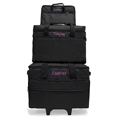 Luova 19″ 3 Piece Rolling Sewing Machine Trolley Set in Black