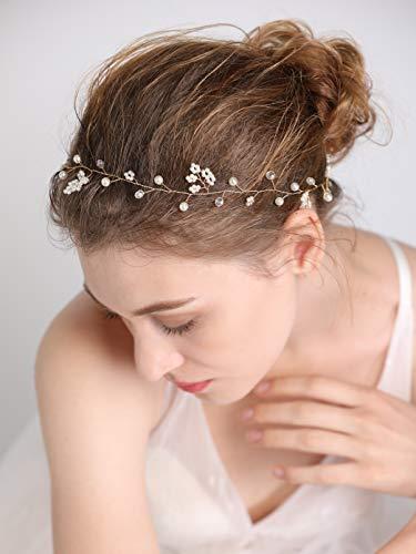fxmimior Bridal Wedding Crystals Long Hair Vine Wedding Evening Party Headpiece (gold)