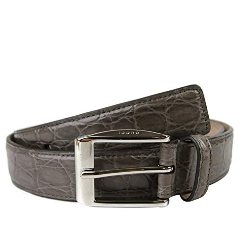 Gucci Men's Gray Crocodile Classic Square Buckle Belt 336831 (95 / Men's 38)