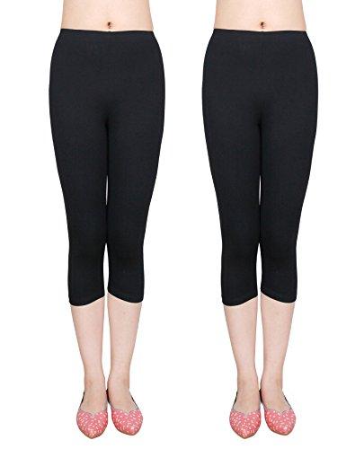 IRELIA 2 Pack Cotton Girls Leggings Capri Solid Pants for Spring/Fall 01 XS ()