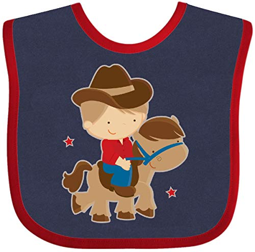 (Inktastic - Cowboy Boy on Pony Baby Bib Navy and Red 5ad7)