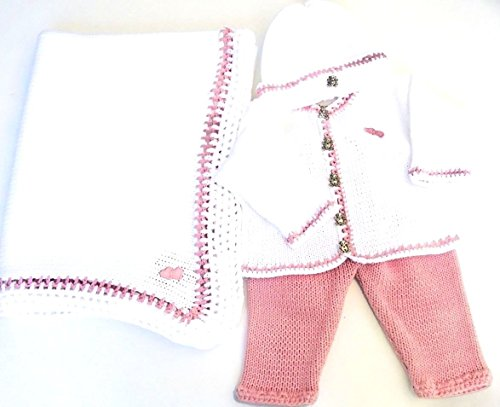 White Cotton Pink Trim Cardigan Pant Hat Set Matching Blanket (0-6mo) by Gita