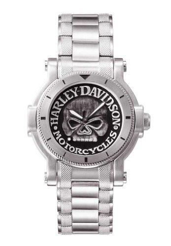 Harley-Davidson® Bulova Mens Watch, Antique Medallion Skull Dial, 76A11