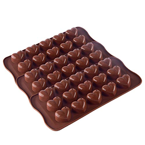 SunTrade 3-Pack 15-Cavity Dimpled Heart Shape Chocolate Mold, Silicone Valentine Heart Chocolate Gummy and Candy ()