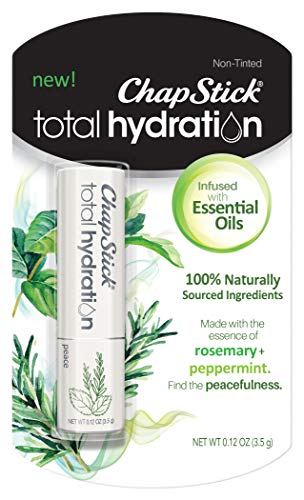 ChapStick Total Hydration Essential Oils Lip Balm Peace Rosemary + Peppermint (0.12 oz Tube) (Best Essential Oils For Lip Balm)