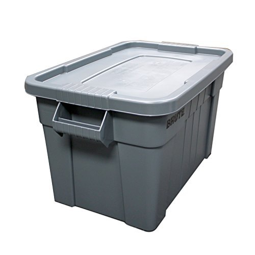 5 X Rubbermaid Commercial FG9S3100GRAY Brute Tote with Lid, 20-Gallon Capacity, - Pen Rubbermaid Plastic