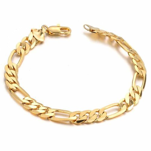 MoAndy Jewellery Plated 18K Gold Men's Fashion Link Bracelet Anti-Radiation Golden Length 21CM (Baby Bracelet Gold)