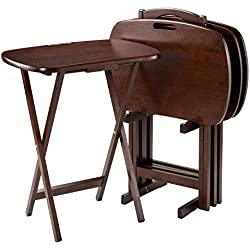 """Winsome Wood 94577 Lucca 5 Piece Set TV Tables with Handle, 22.83"""" W x 25.79"""" H x 15.67"""" D, Brown"""