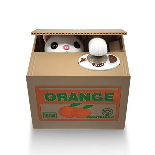 Matney® Stealing Coin Cat Box- Piggy Bank - White Kitty - English Speaking