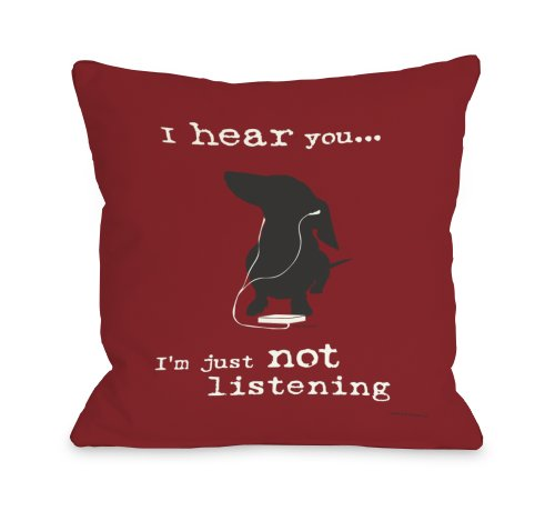 One Bella Casa Not Listening Throw Pillow, 18 by 18-Inch,...
