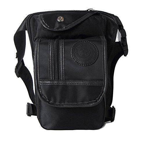 NAOKI LOVE Retro Multifunction Outdoor Tactical Molle Canvas Black Waist Leg Bag