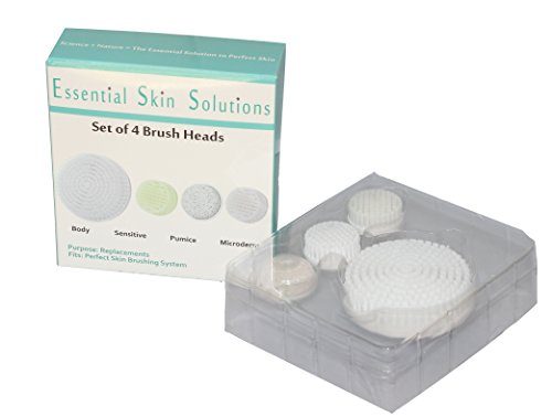 Perfect Skin Brushing System Replacement Heads - Set of 4 - Heads designed to Reduce Pore Size - Prevent Acne - Exfoliate - Clear Body Acne - and Smooth Feet - By Essential Skin Solutions