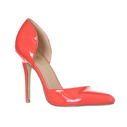 Pointed Toe Very High Heels (Riverberry Women's Nora Pointed Toe Slip On D'Orsay Pump Heels, Coral Patent, 6.5)