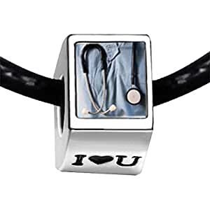Chicforest Silver Plated Heart Stethoscope Photo I Love You Charm Beads Fits Pandora Biagi Troll Chamilia Kay's Beads Charms