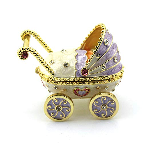 - Shinny Gifts 2016 NewTrinket Baby Carriage Trinket Box Baby Toys Collective Gift Box Gift Box Vintage Girl Pushing Baby Carriage Metal Trinket Box (Purple)