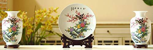 Set of 3 Oriental Porcelain Vases and Plate/Disk, Chinese Painting (Flower and Bird), Home Decor, Gift, China, Handmade, Color: White, Red, Purple, Green, Yellow, Blue (Spring Garden)
