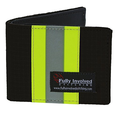 Personalized Firefighter BLACK Bi-fold Wallet Made From Turnout Bunker Gear Material ()