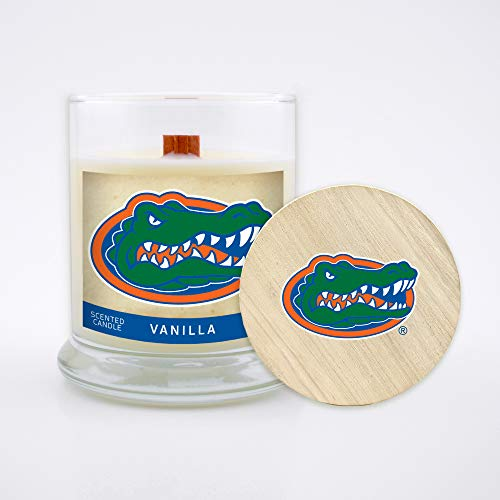 Worthy Promo NCAA Florida Gators 8 oz Vanilla Scented Soy Wax Candle, Wood Wick and ()