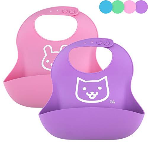 OBB Soft Silicone Baby Bib | Set of 2 (Pink/Purple)