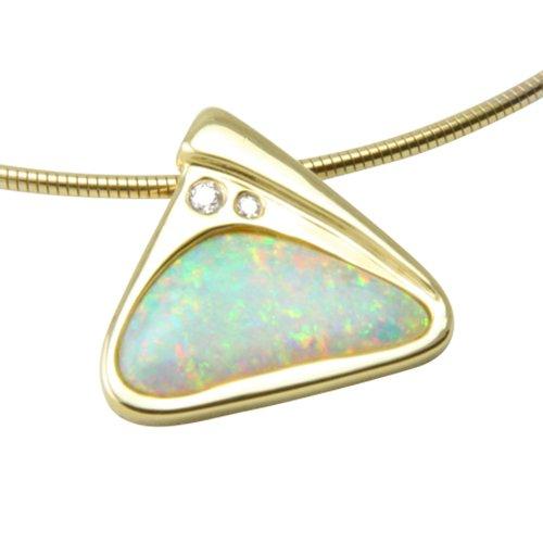 SKIELKA dESIGNSCHMUCK unique doré opale (goldschmiedearbeit or jaune 585)-avec opale goldanhänger 2,1 carats et diamants-opalanhänger avec certificat d'authenticité)