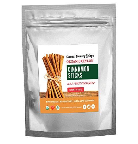 Organic True Ceylon Cinnamon Sticks 8 ounces Fairtrade, Freshly Harvested & Packed in Sri Lanka w/E-BOOK Recipes & Crafts