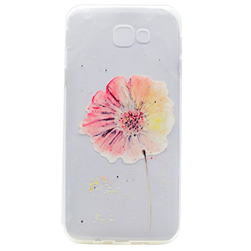 Galaxy A3 2017 Tpu Case,IKASEFU Pretty Pink Flower Design Slim Fot Soft Gel Silicone Tpu Rubber Bumper Case Cover for Samsung Galaxy A3 2017-Pink Flower A3 Rubber