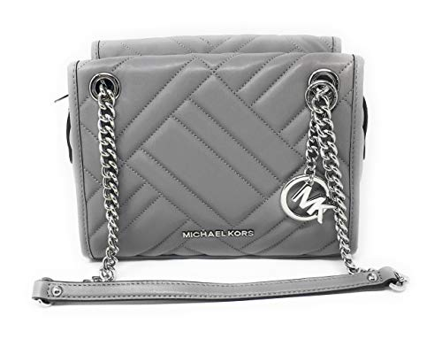 (MICHAEL Michael Kors Kathy Ash Grey Quilted Leather Satchel)