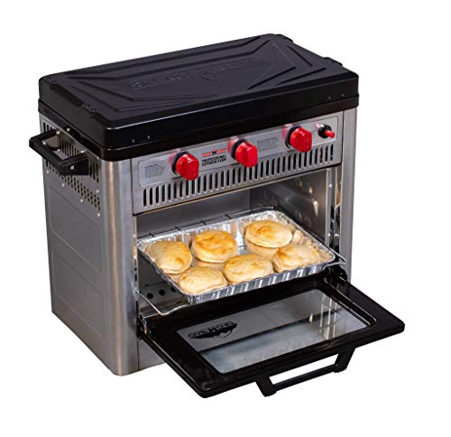 Camp Chef Outdoor Camp Oven with Thermostat Insulated Oven Box Matchless Ignition  Stainless Steel Covent