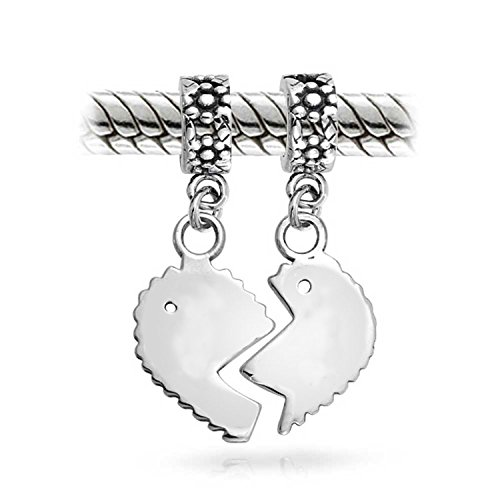 Bling Jewelry 925 Silver mère-fille Split Heart Dangle cordon série est adaptée gravure gratuite