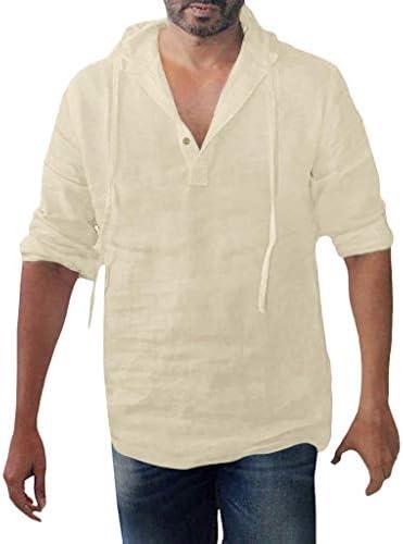 YiMiny – Camisa de lino para hombre, con capucha, de otoño, manga larga, transpirable, talla grande: Amazon.es: Ropa y accesorios