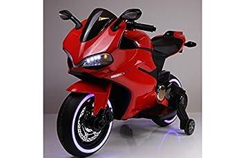 BC Babycoches-Moto electrica 12 V para niños Ducati Style Superbike, Asiento Polipiel, indicador bateria, ruedines, Equipo Audio. Rojo