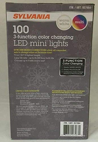 Sylvania Christmas Lights 3-Function Color Changing Warm White Multi C