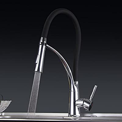 KiaRog Single Handle Kitchen Faucet With Dual Function Pull Out Sprayer.Hot and Cold Mixer Touch On Kitchen Faucets.Brass Body.New Design.(Three Colors: Black, Green,Orange)