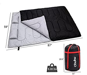 Double Sleeping Bag With 2 Pillows And A Carrying Bag, Ohuhu Waterproof Lightweight 2 Person Sleeping Adult Bag For Camping, Backpacking, Hiking from Ohuhu