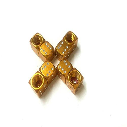 Aluminium Dice Valve Caps Tire Air Valve Stem Caps For Car Trunk Bike Bicycle Wheel Rims (8Pcs of Pack) - Solid Gold Rims