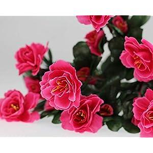 Lopkey Outdoor Indoor Silk Flower Artificial Red Azalea Bush,Rose Red 4pcs 4