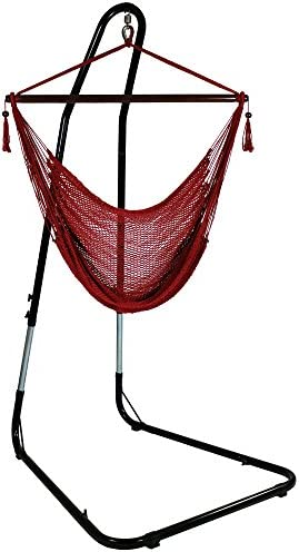 Sunnydaze Hanging Rope Hammock Chair Swing with Stand – Caribbean Style Extra Large Hanging Chair with Adjustable Stand – 300 Pound Capacity – Red