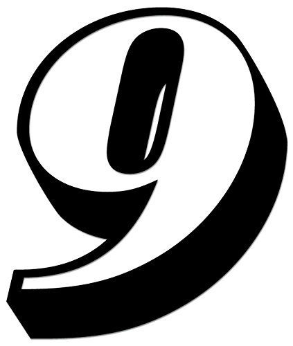Racing Number 9 Nascar Indy Go Kart Style12 Vinyl Decal Sticker For Vehicle Car Truck Window Bumper Wall Decor - [10 inch/25 cm Tall] - Matte BLACK Color