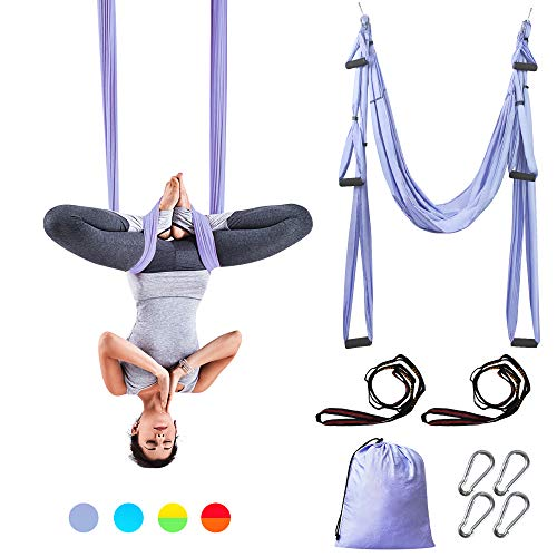 Sotech Yoga Swing, Anti-Gravity Yoga Sling Hammock for Aerial Yoga Inversion Tool with 2 Daisy Chain, Light Purple