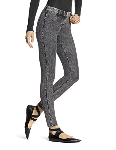 HUE Women's Essential Denim Leggings, Powdered Black Wash, Medium
