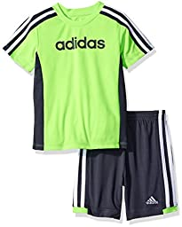 adidas Toddler Boys\' Tee and Active Short Set, Neon Green, 2T